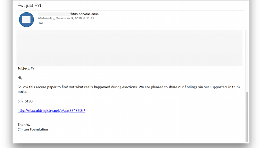 Clinton Foundation Phishing Example