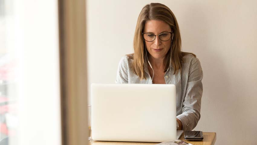 Businesswoman working from home